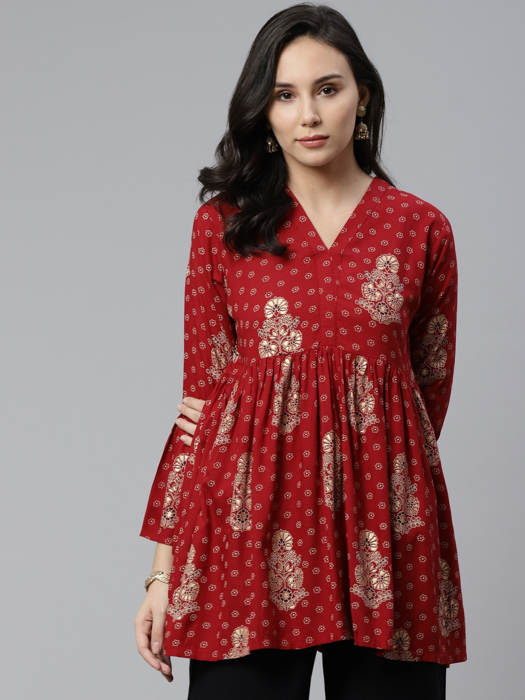 Libas Women Maroon & Golden Printed Empire Kurti