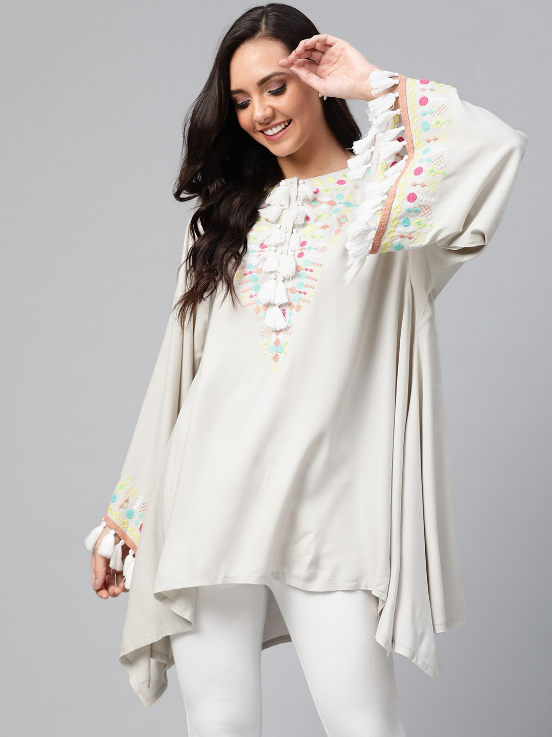 HERE&NOW Grey Embroidered Asymmetric Hem Tunic