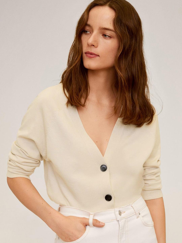Women Beige Solid Cardigan Crop Sweater