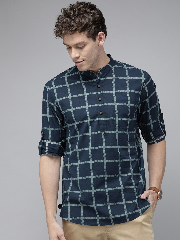 Buy Anouk Men Navy Blue & Grey Printed Straight Fusion Kurta