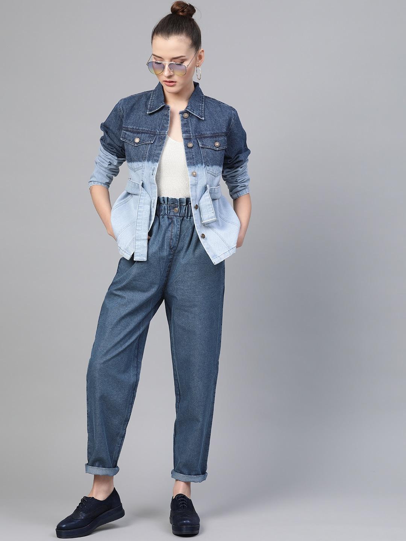 Women Blue Regular Fit High-Rise Clean Look Paper Bag Waist Jeans