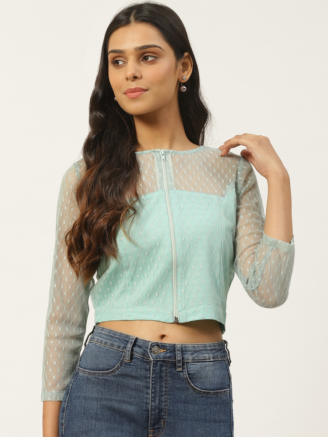 Women Sea Green Self Design Semi-Sheer Crop Top