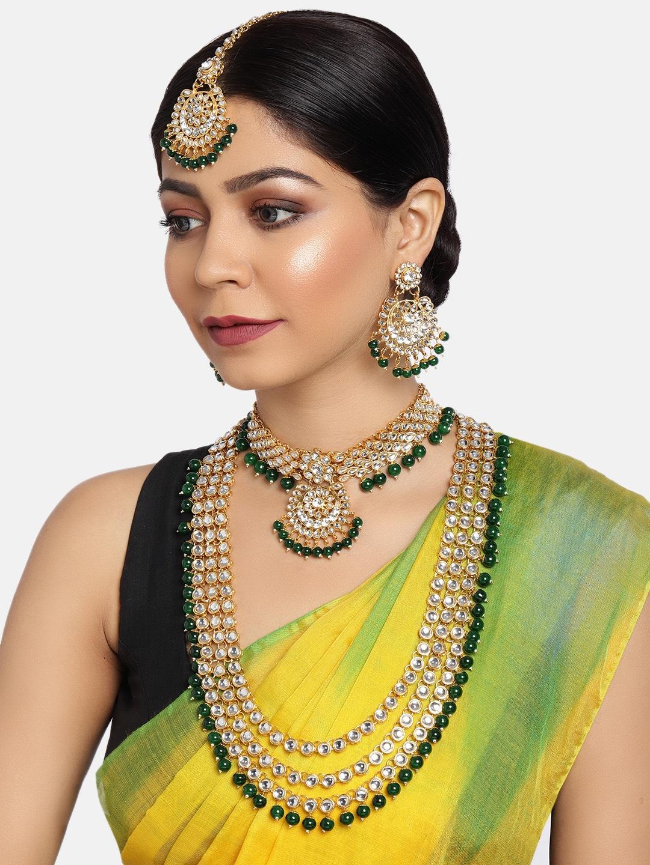 Zaveri Pearls Green Gold-Plated Bridal Kundan Choker 2 Necklaces Jewellery Set