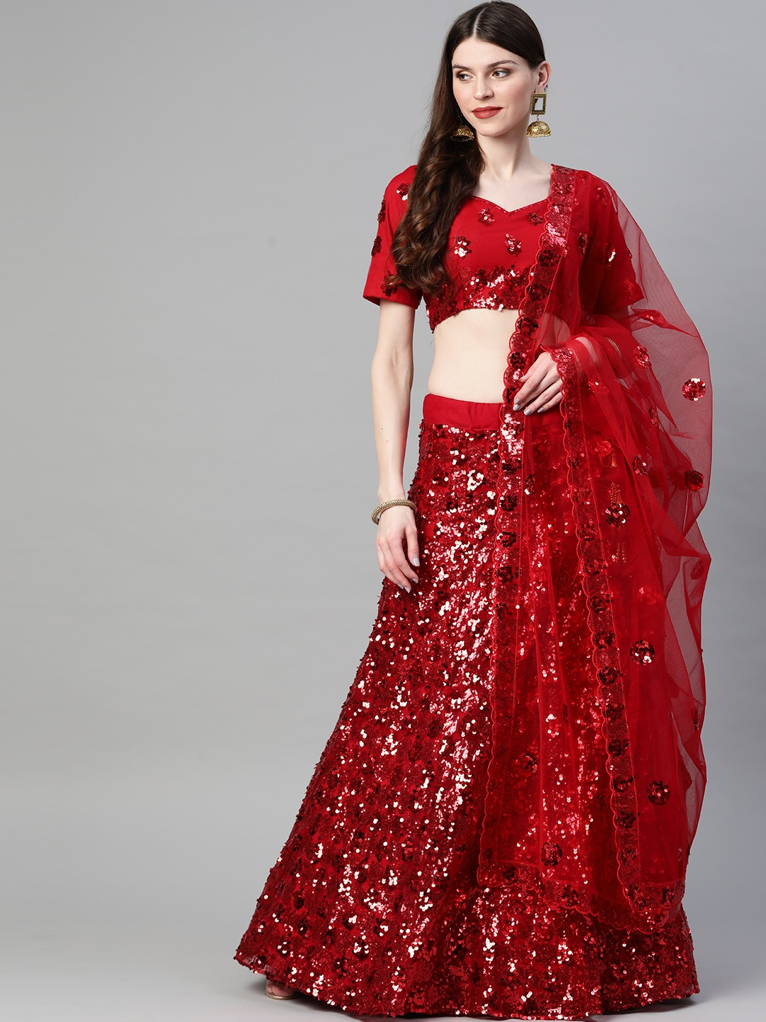 Red Sequinned Semi-Stitched Lehenga & Blouse with Dupatta