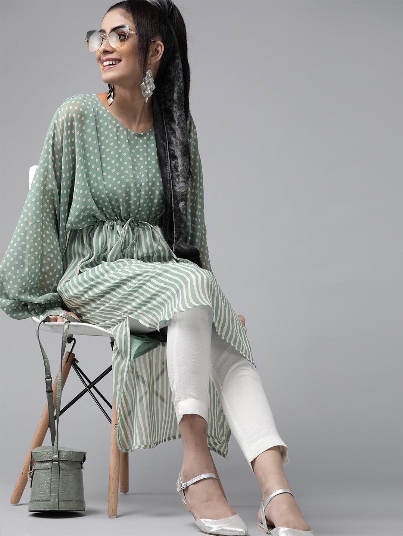 Women Green & White Printed Tunic
