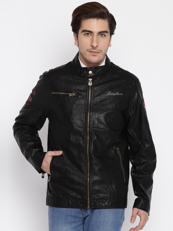 Being Human Men Black Solid Jacket