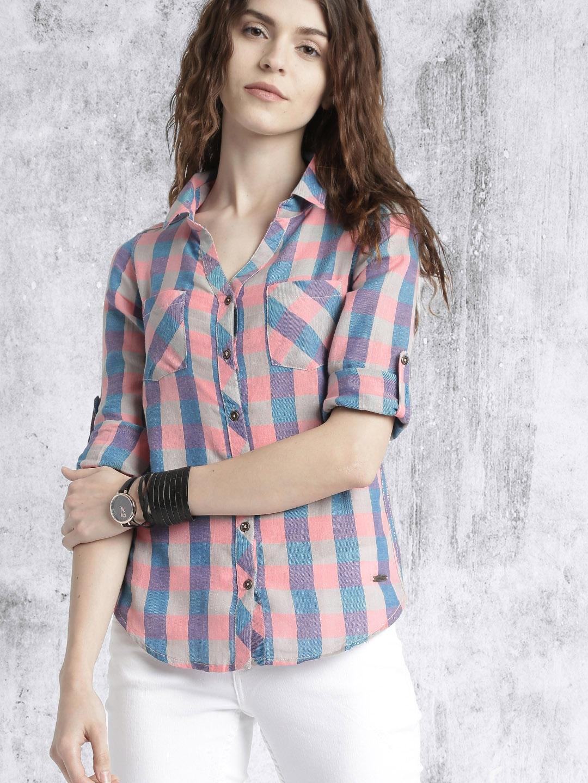 Time Travlr Women Peach & Purple Slim Fit Checked Casual Shirt