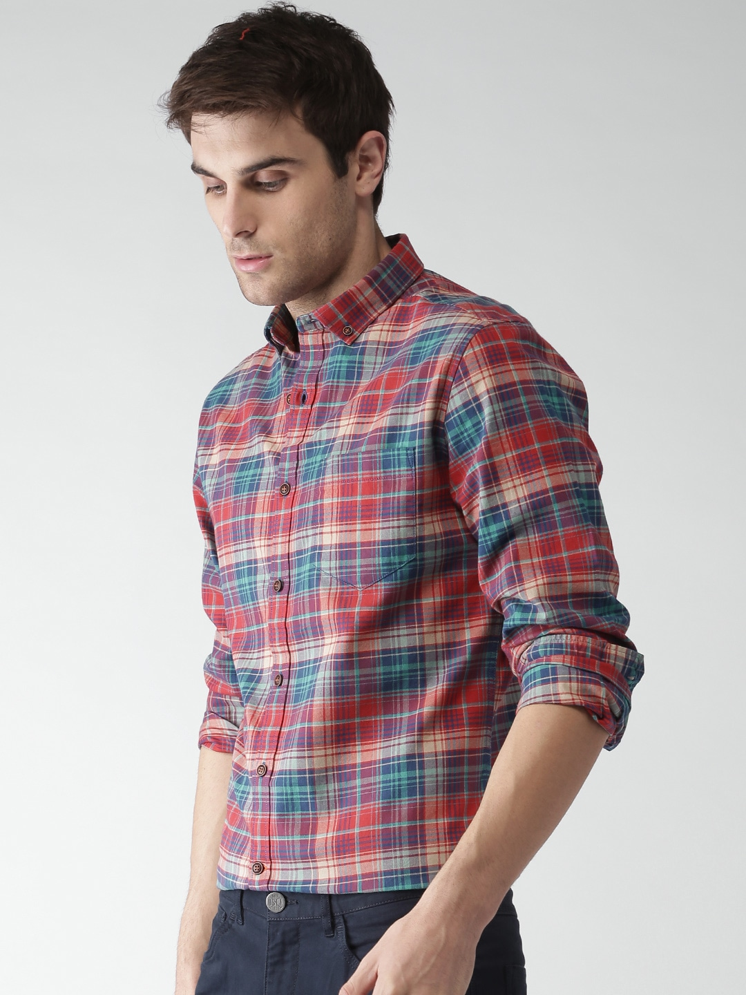 Buy Mast & Harbour Men Red & Blue Checked Casual Shirt