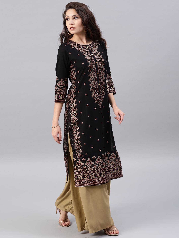 11523617167681 Vishudh Women Black Gold Toned Printed Straight Kurta 9041523617167566 3