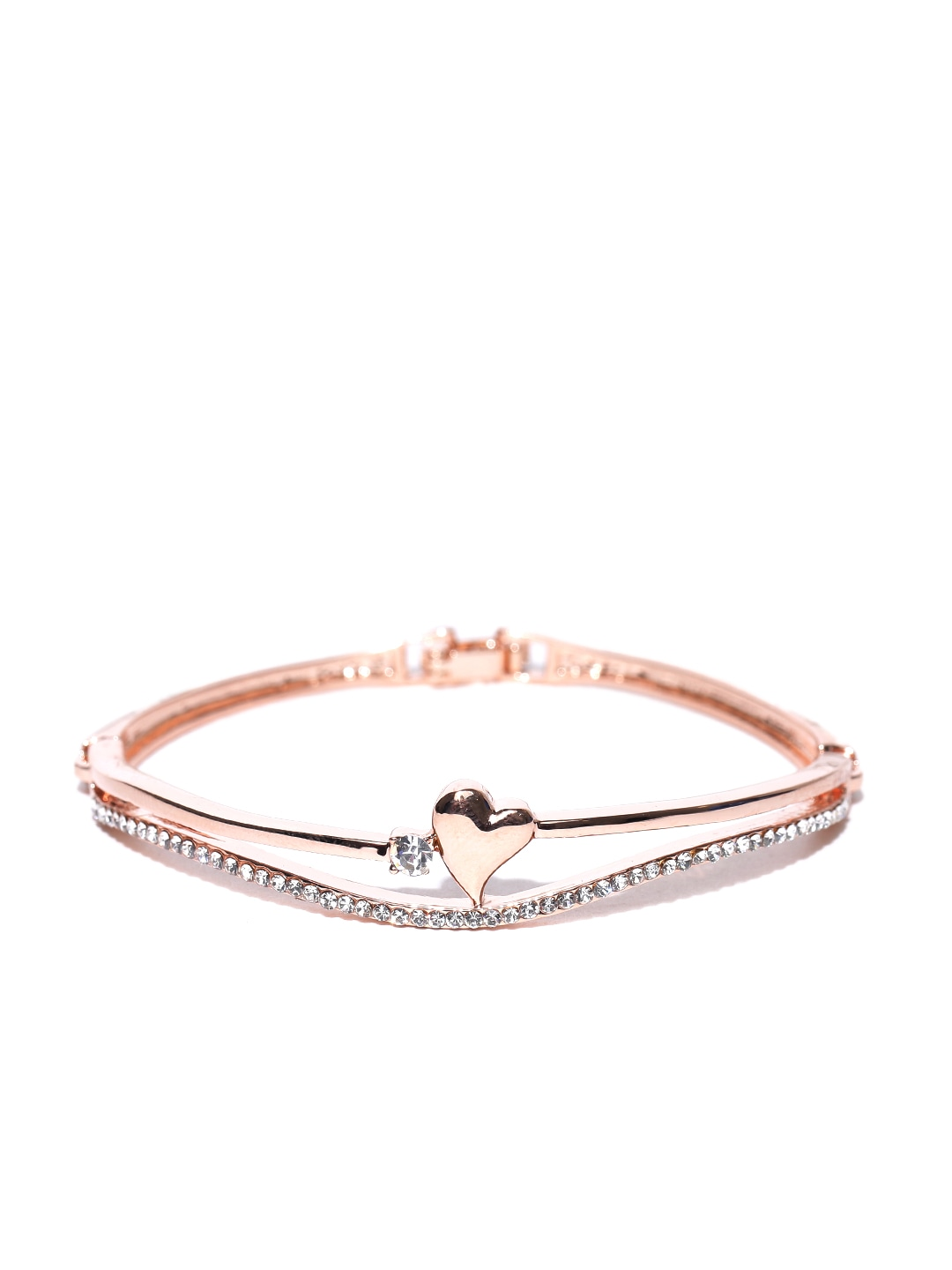 Rose Gold-Plated Handcrafted Stone-Studded Bracelet