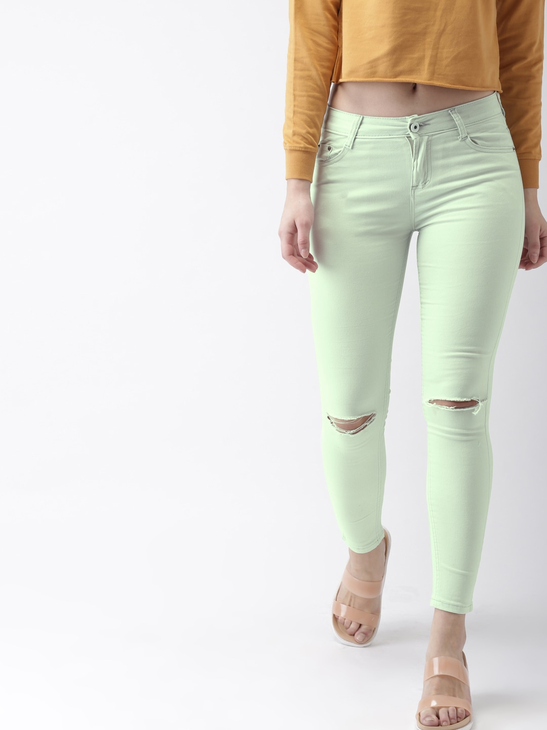 Women Sea Green Skinny Fit Mid-Rise Slash Knee Stretchable Jeans