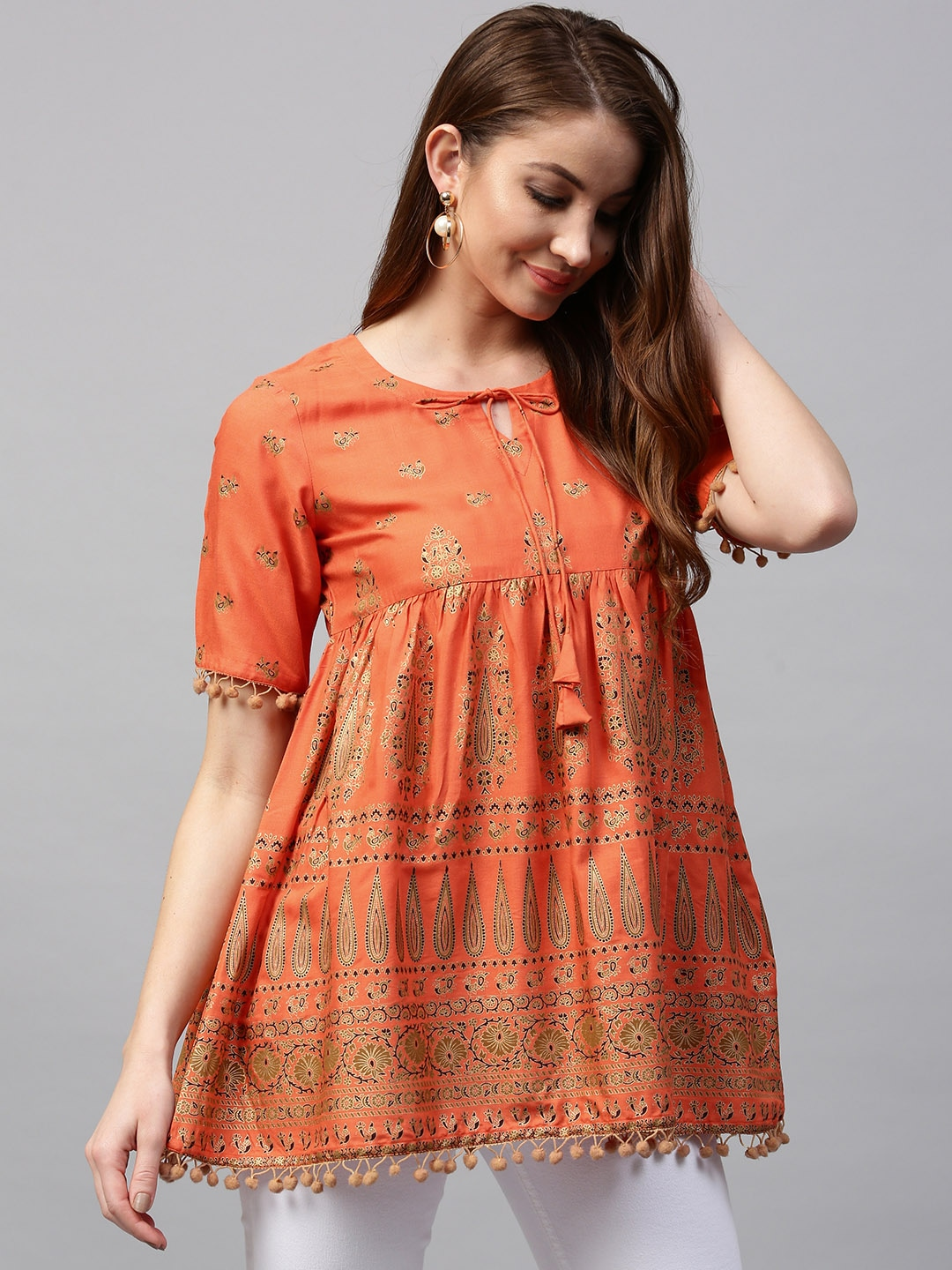 GERUA Orange & Golden Printed Empire A-Line Kurti