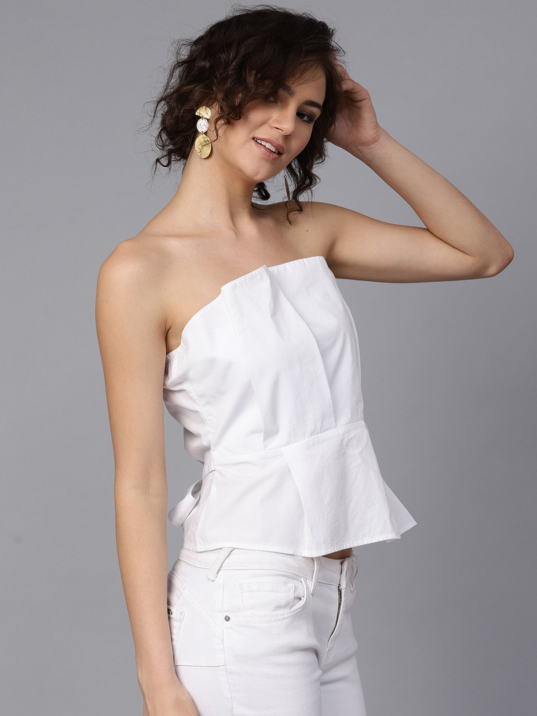 Women White Solid Tube Top