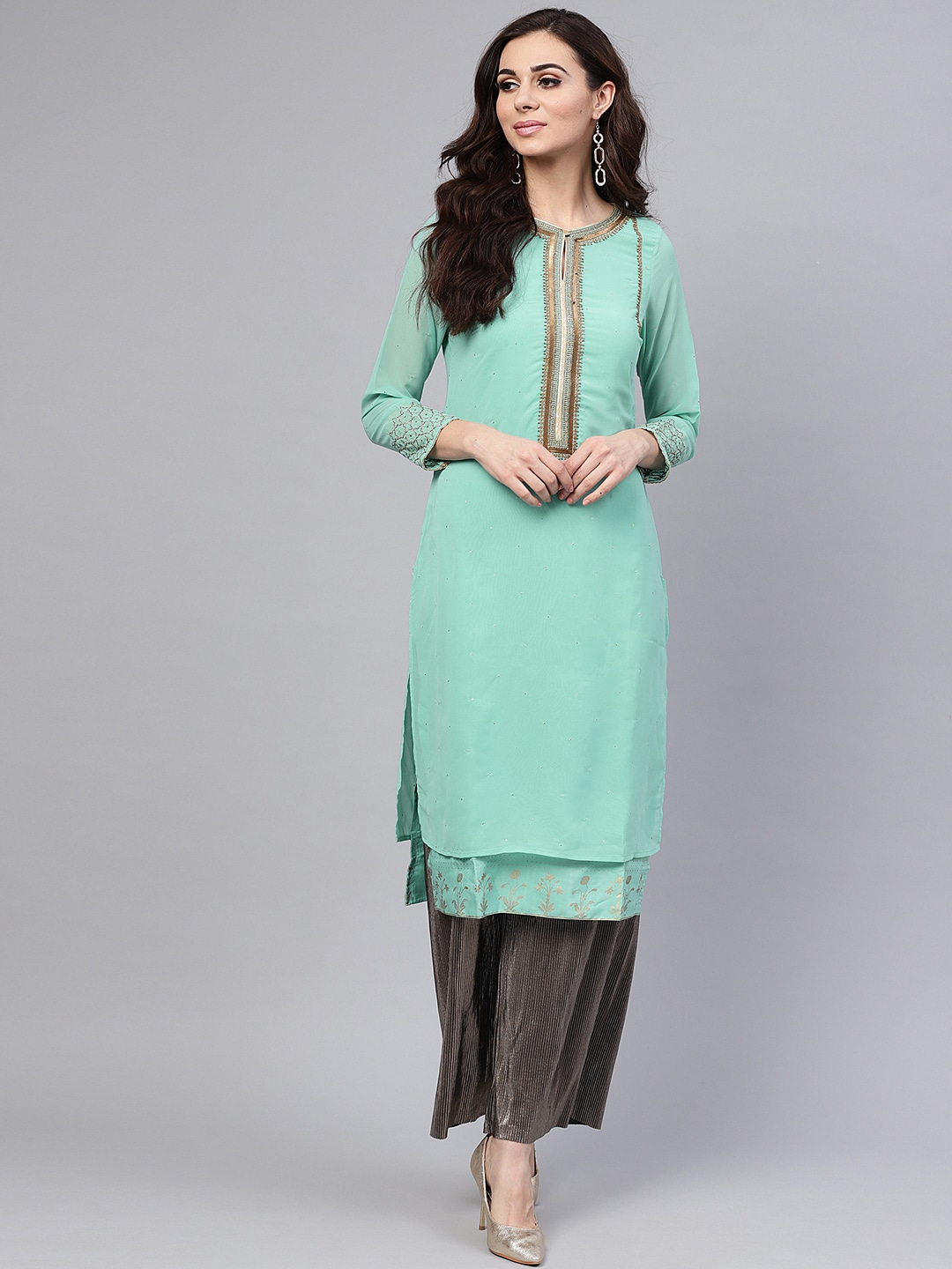 Wishful by Women Sea Green Embellished Layered Straight Kurta