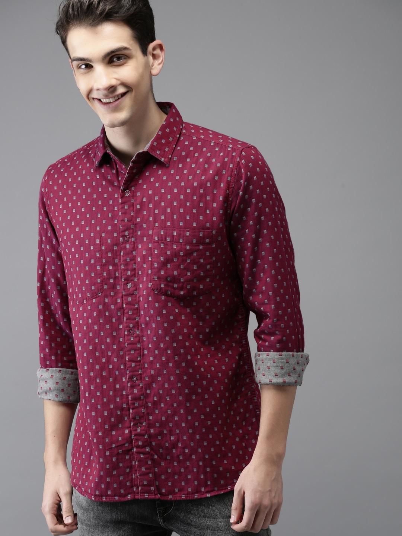 Buy HERE&NOW Men Maroon & Grey Regular Fit Printed Reversible Casual Shirt