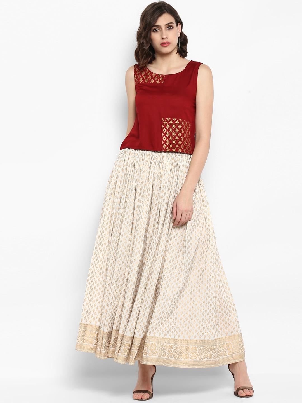 Varanga Women Maroon & White Solid Top with Skirt