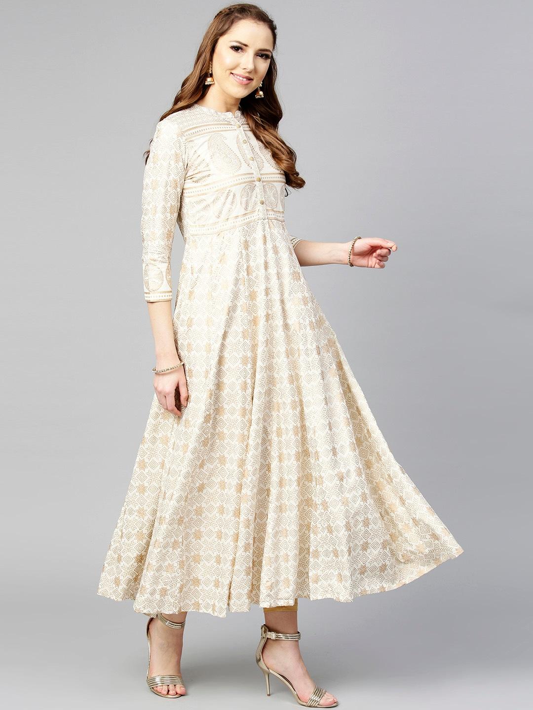 Buy Varanga Women Off-White & Golden Printed Anarkali Kurta