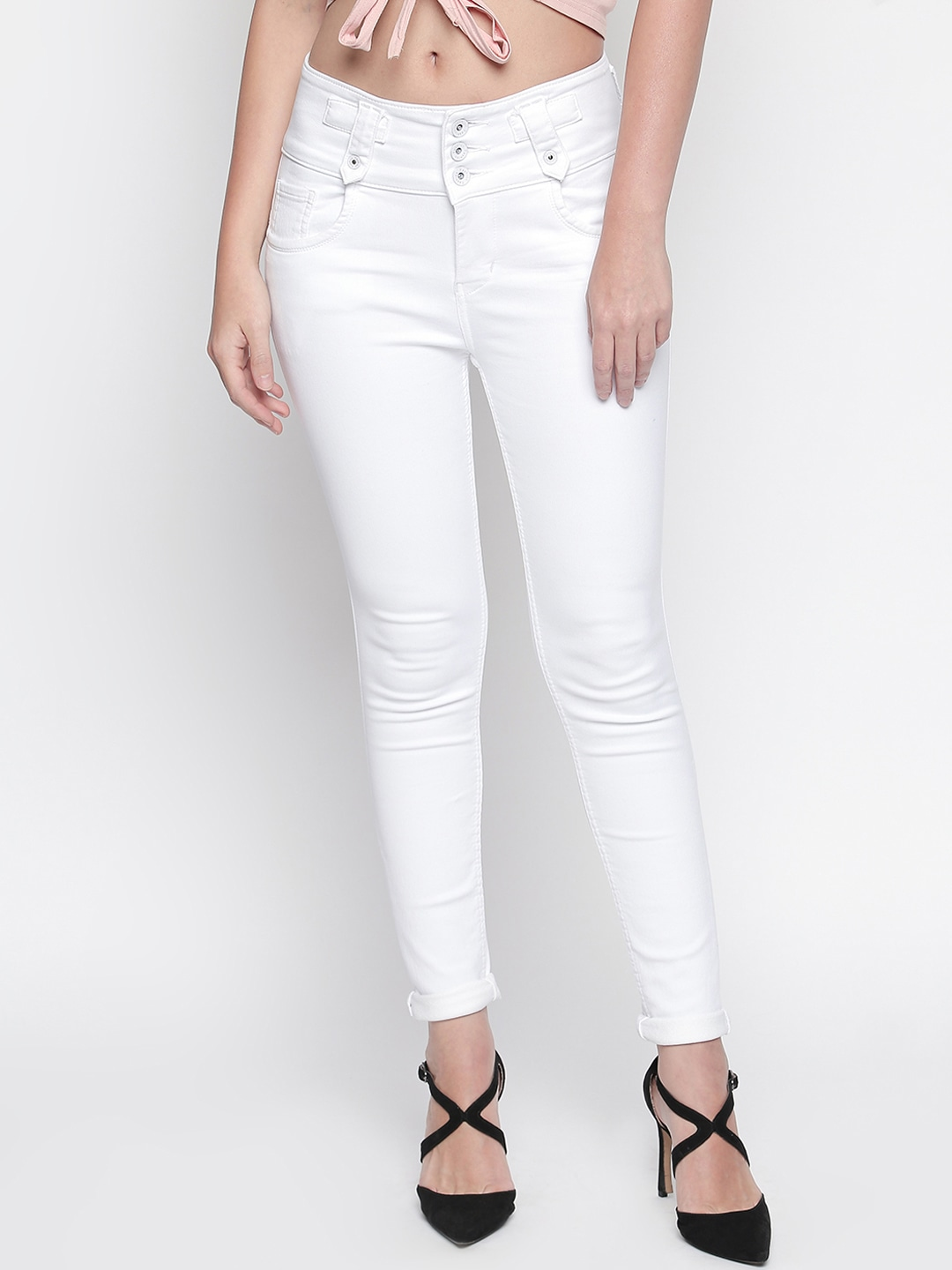 Women White Slim Fit High-Rise Clean Look Stretchable Jeans