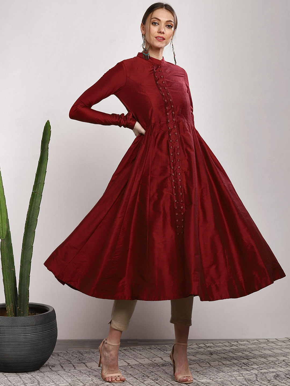 Women Red Solid Anarkali Kurta