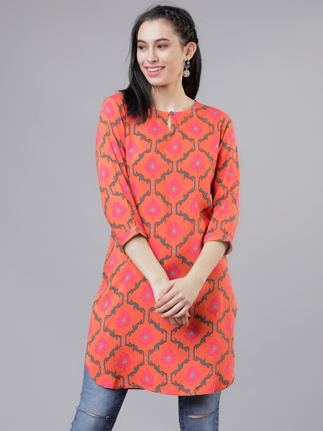 Vishudh Orange & Pink Printed Tunic