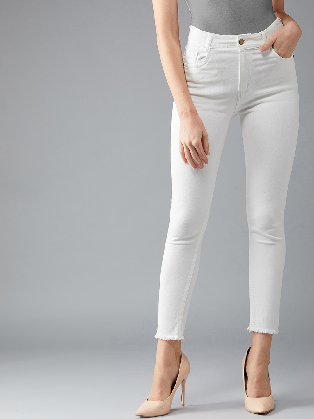 Women White Skinny Fit High-Rise Clean Look Stretchable Jeans