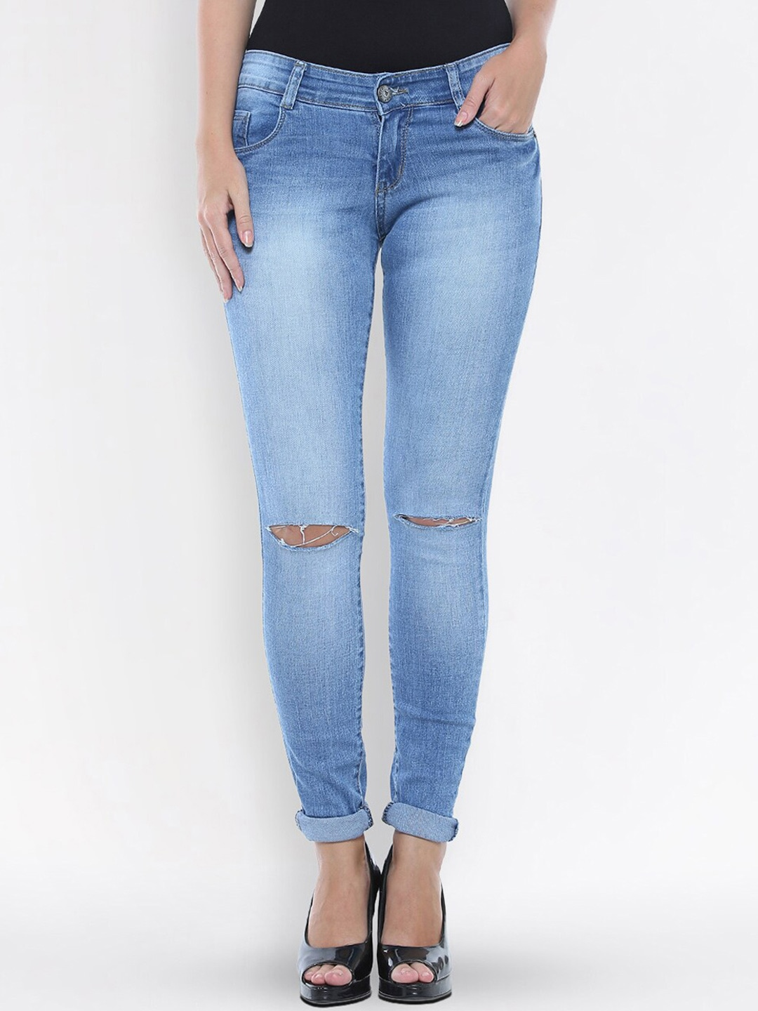 Women Blue Slim Fit High-Rise Slash Knee Stretchable Jeans