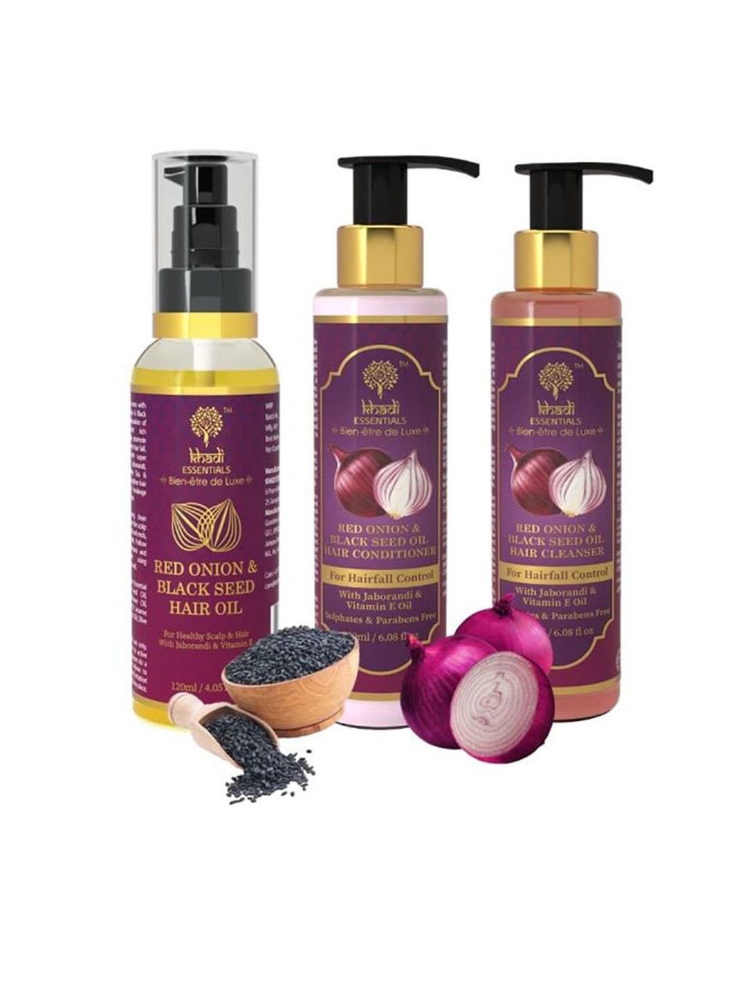 KHADI ESSENTIALS Pack of 3 Onion & Seed Oil Hairfall Control Regime