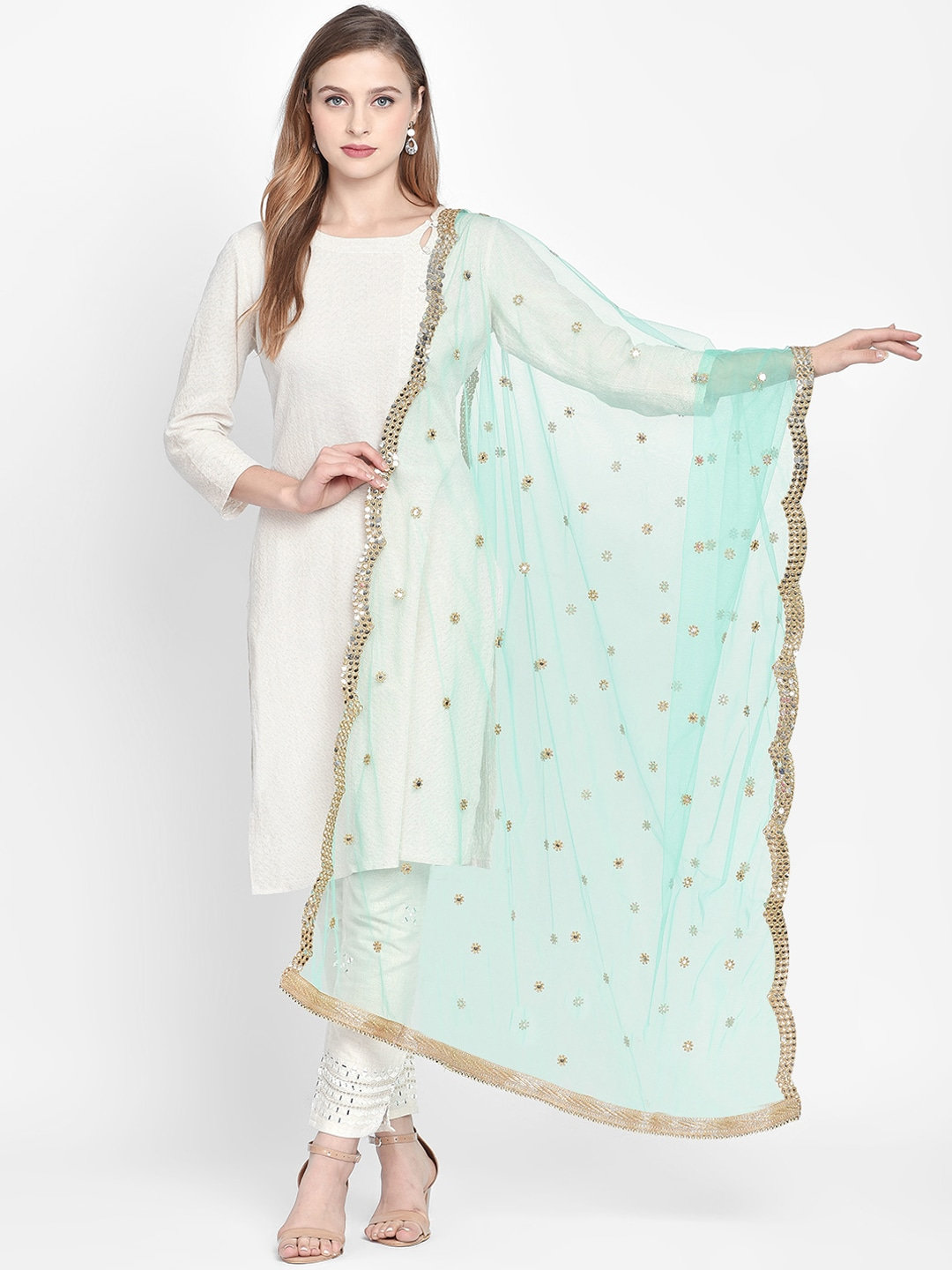 Women Sea Green Gold Toned Embroidered Dupatta