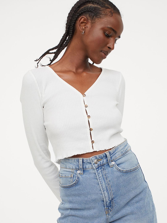 Women White Ribbed Jersey Cardigan