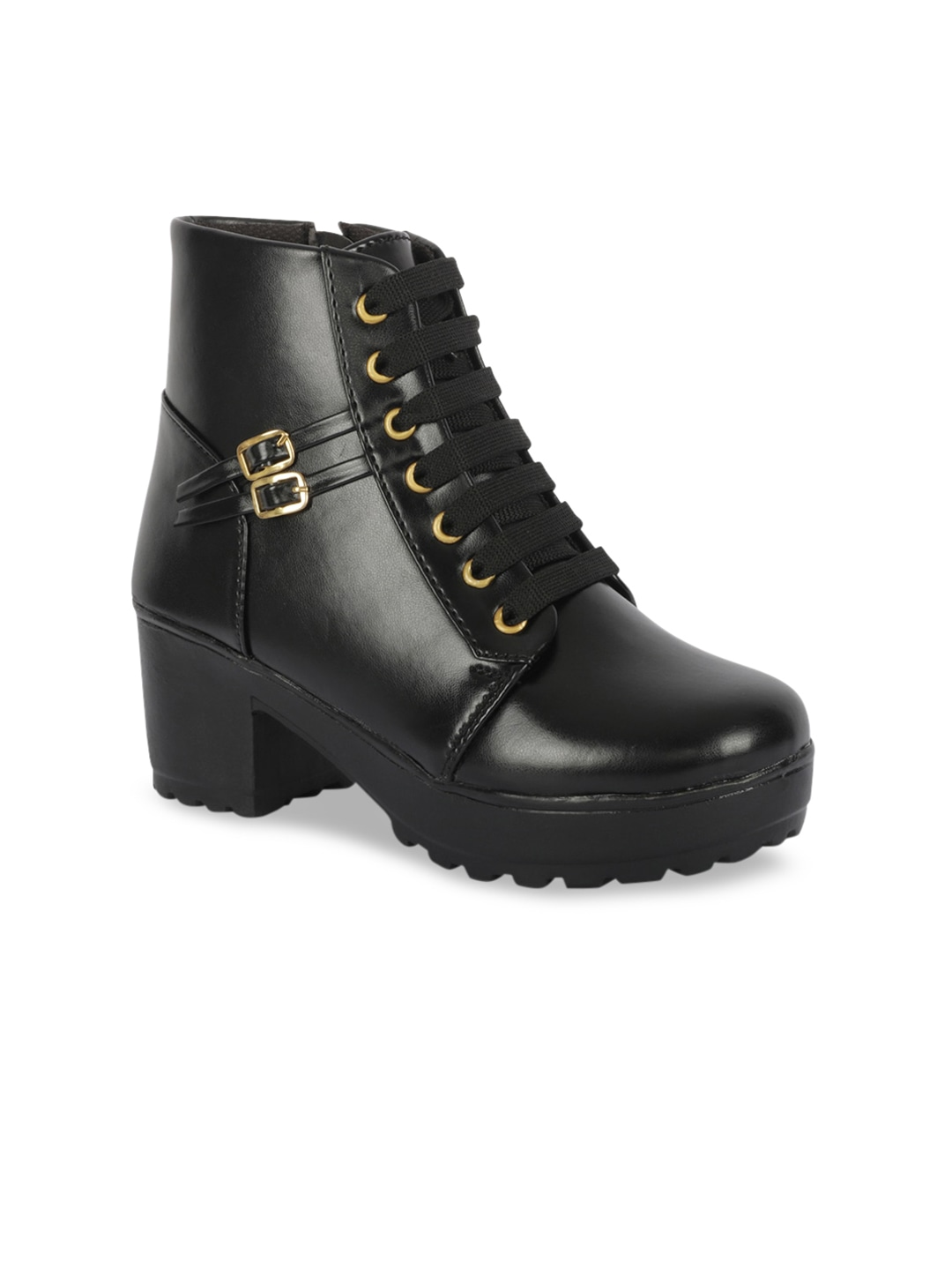 Women Black Solid Heeled Boots