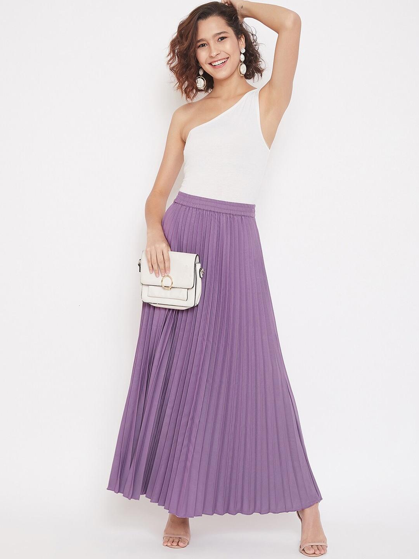Women Purple Accordion Pleat Maxi Flared Skirt