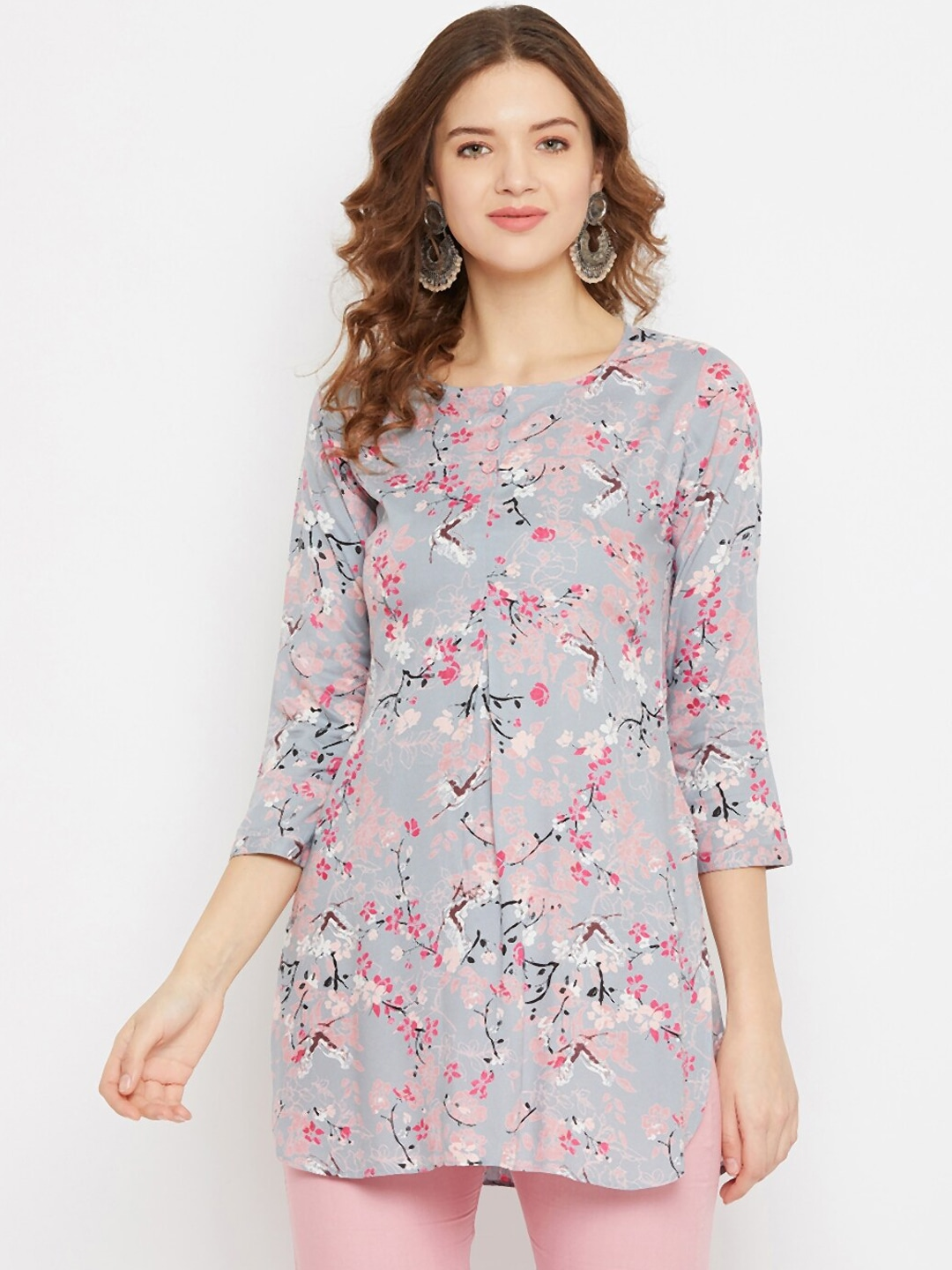 Tissu Women Grey & Pink Floral Printed Straight Kurti