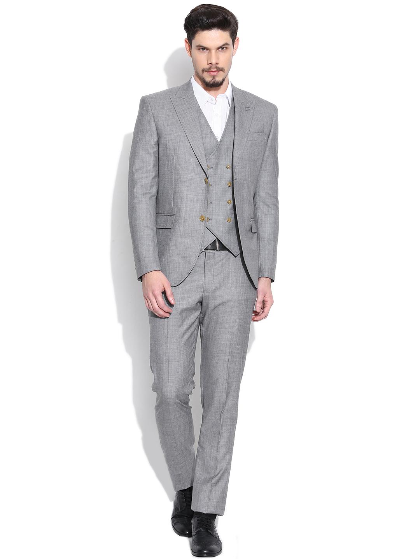 Buy Blackberrys Grey Woollen Single Breasted Slim Fit Formal Suit With Waistcoat - Suits For Men ...