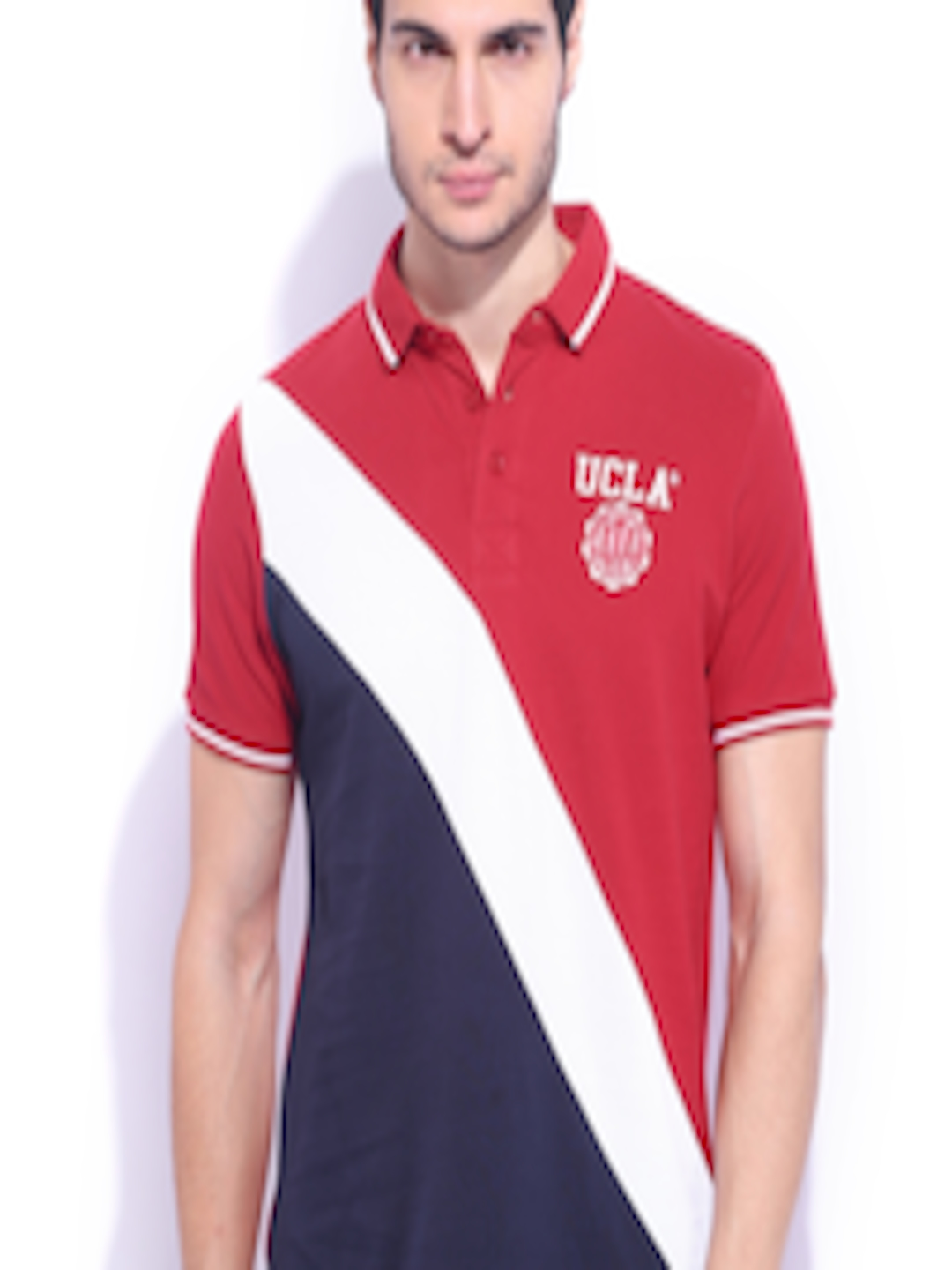 d0fdf16e3 Buy UCLA Red & White Polo T Shirt - Tshirts for Men 1011577   Myntra
