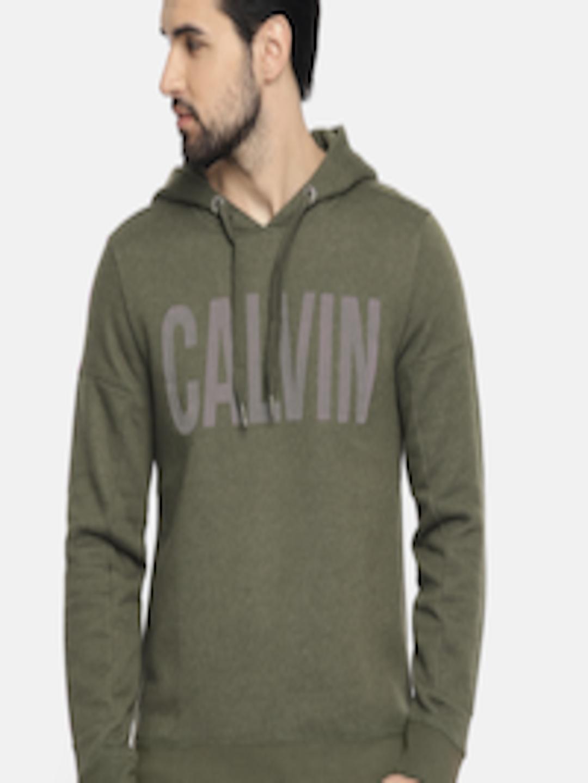 Men Olive Green Printed Hooded Sweatshirt by Calvin Klein Jeans