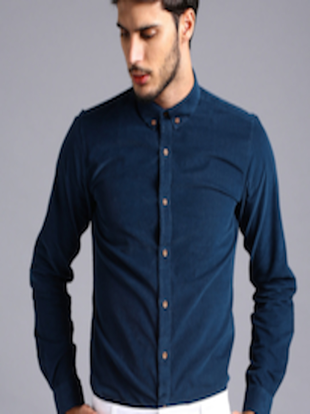 15015c93b5 Buy Ether Men Navy Blue Slim Fit Antimicrobial Corduroy Shirt ...