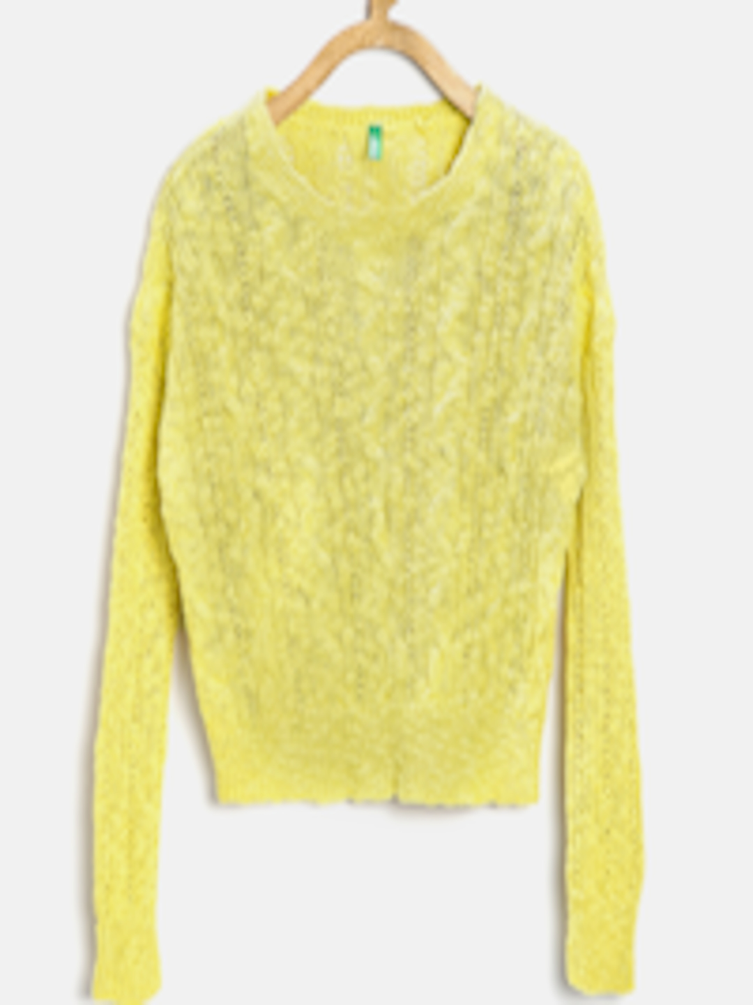 Buy United Colors Of Benetton Girls Yellow Cable Knit Sweater ...