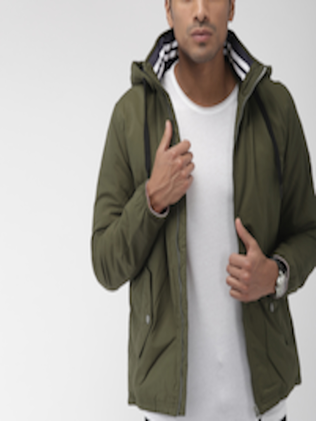 Men Olive Green Solid Padded Jacket by Tommy Hilfiger