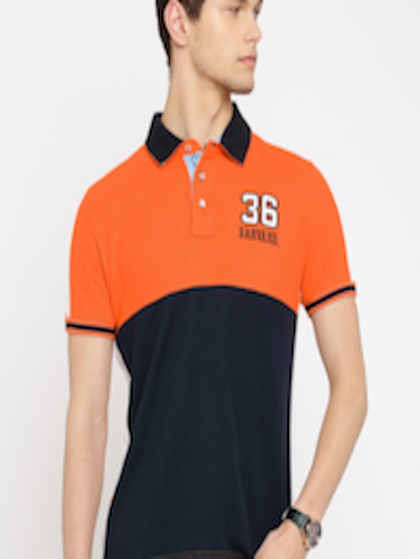 48e6a988 ... shop buy harvard men orange navy colour blocked polo t shirt tshirts  for men 1037115 myntra
