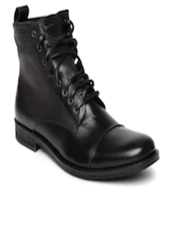1003d44c67187 Buy Levi's Men Black Leather Boots - Casual Shoes for Men 1043393 | Myntra