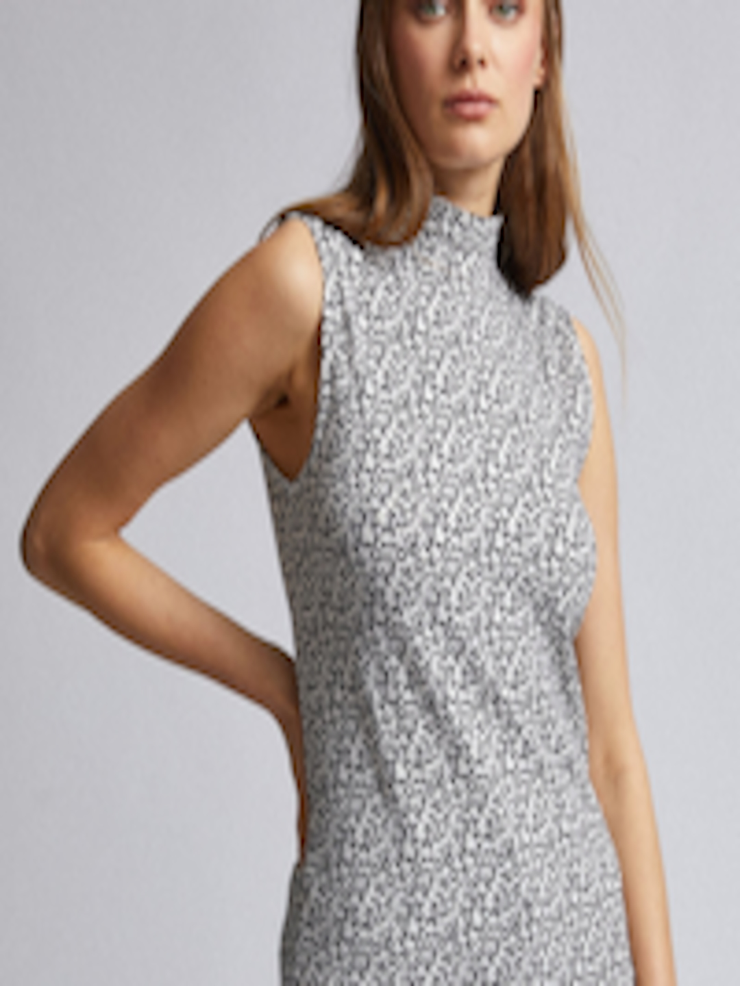 Women Off White & Black Printed Top by Dorothy Perkins