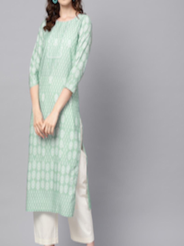 Ahika Kurtas for Women Sea Green & White Printed Straight Kurti in India