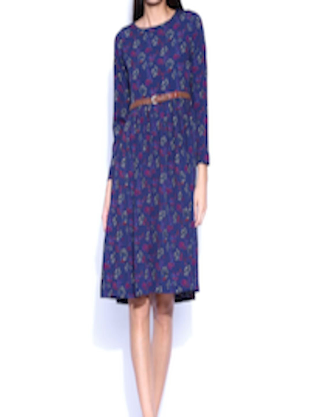 Buy Folklore Navy Printed Bohemian Collection Fit & Flare Dress ...