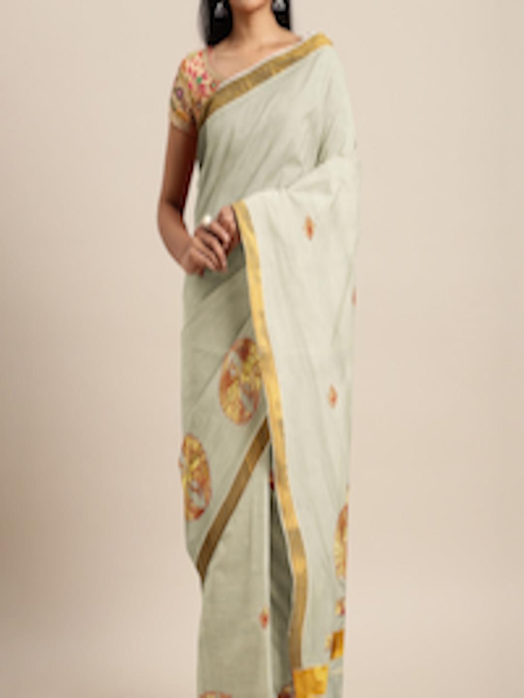 Buy The Chennai Silks Classicate Off White Pure Cotton ...