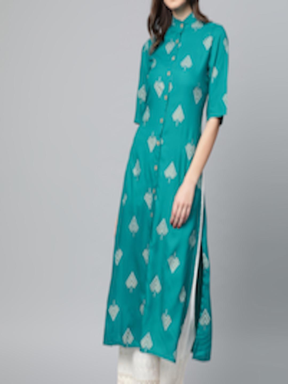 Popnetic Women Printed Straight Kurta Green & Golden in India