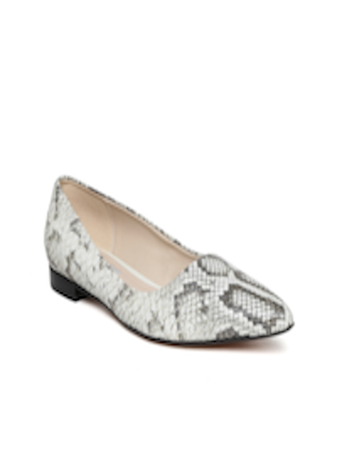 11e30b00e0c Buy Clarks Women Off White   Grey Snakeskin Print Leather Flat Shoes - Flats  for Women 1120448