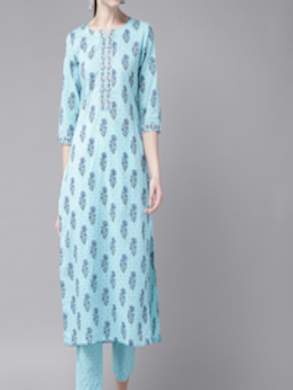 Libas Women Blue Printed Kurta with Trousers