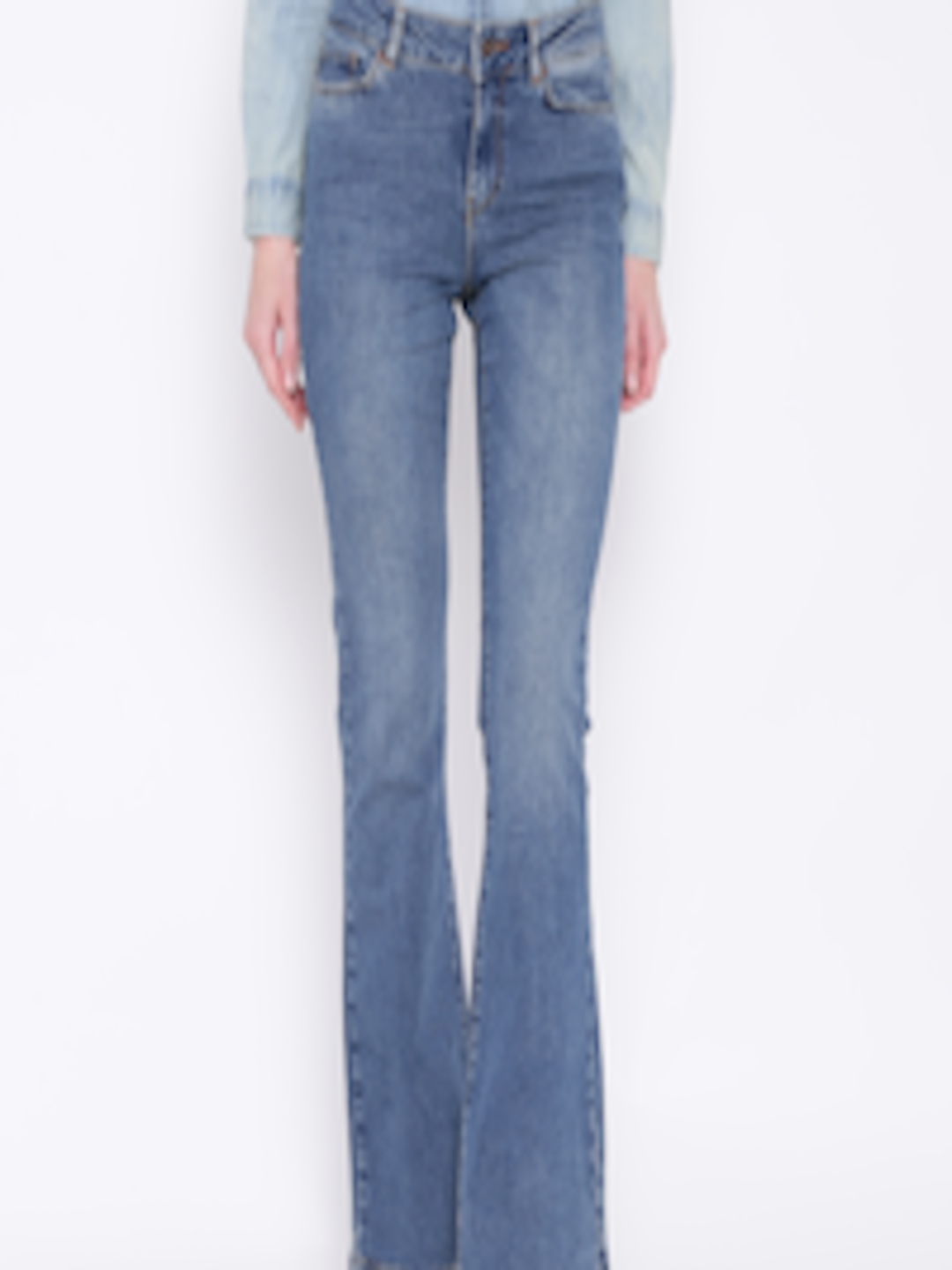 6be494dbd00eb6 Buy Vero Moda Blue Washed Bootcut Jeans - Jeans for Women 1187046   Myntra