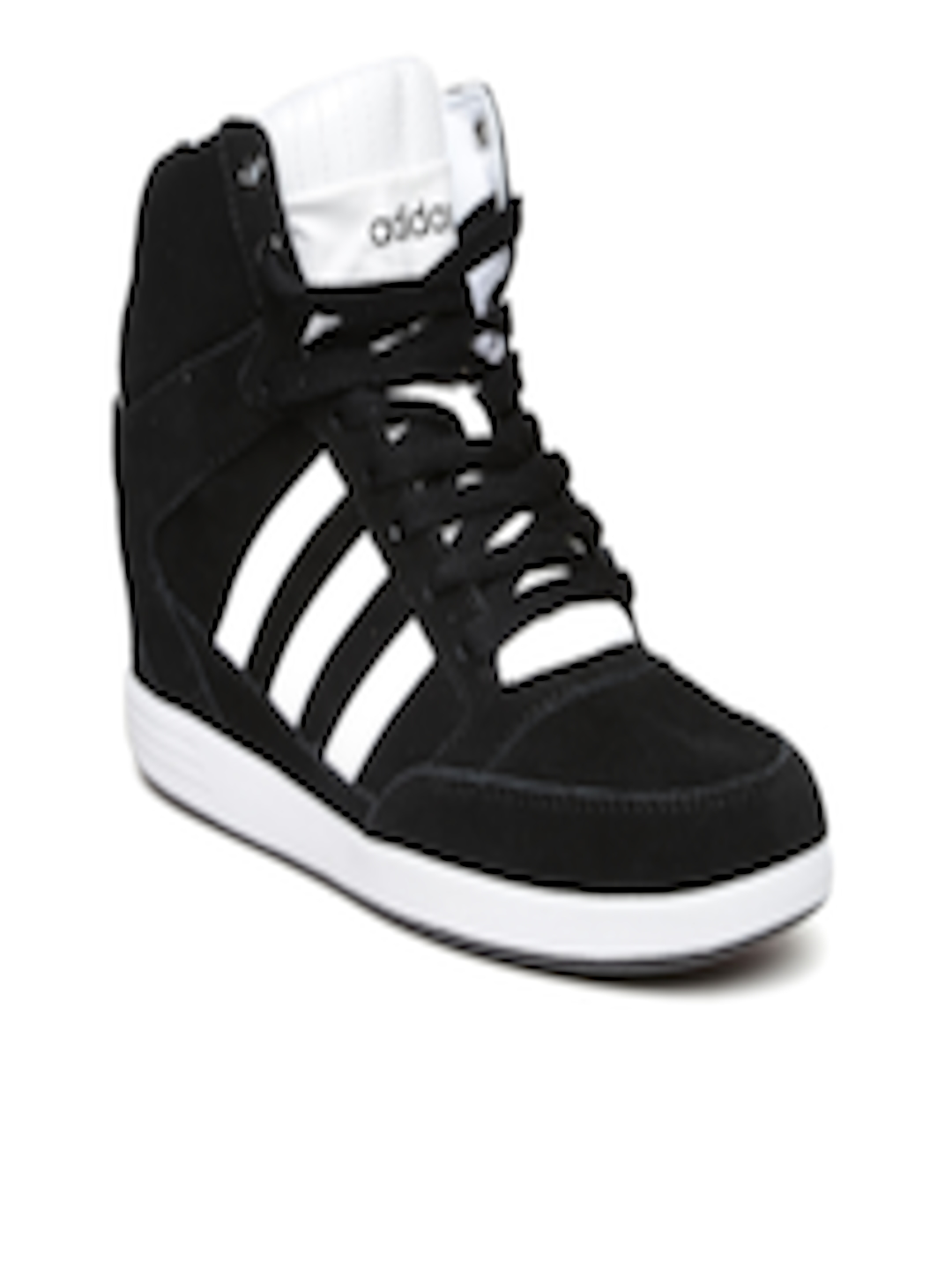 ADIDAS SUPER WEDGE W black white women's suede high top sneakers wedges NEW