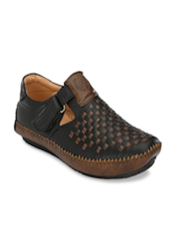 Buy AfroJack Men Black & Brown Shoe Style Sandals ...